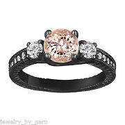 Peach Morganite And Diamond Engagement Ring Vintage Style 14k Black Gold Engraved