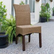 International Caravan Bali Campbell Rattan Wicker Stained Dining Chair Set O...