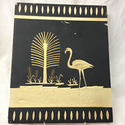 Coventry Ware Chalkware Art Deco Wall Hanging Panel Black And Gold Flamingo Tree