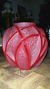 Rare Mid Century Red Satin Consolidated Glass Line 700 Martele Flowers Vines