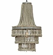 Majestic Chandelier Three Tier Driftwood Beads Rustic Silver Leaf Metal Frame