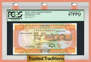 Tt Pk 70a 1991 Macau 1000 Patacas Stylized Dragon Pcgs 67 Ppq Superb Gem New