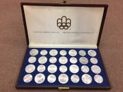 1976 Silver Canadian Montreal Olympic Games Set Andldquobuandrdquo - 28 Coin In Original Box