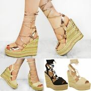 Womens Ladies Wedge Espadrille Sandals Lace Tie Up Strappy Party Platforms Size