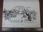 Large Kenya Important/historical Political Satire Pen And Ink Original By 20th C I