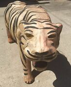 Collectible Vintage Leather Bengal Tiger Statue Nose To Tail 36 Yellow Eyes