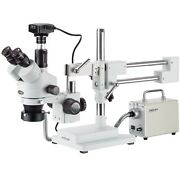 Amscope 3.5x-90x Zoom Stereo Trinocular Microscope + Led Fiber Ring + 6.3mp Came