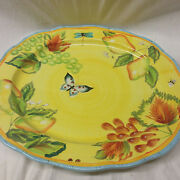 Dept 56 Department Provencal Oval Platter 16 1/4 Butterfly Bee Fruit Yellow