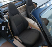 Mazda Miata 2001-2005 Black S.leather Custom Made Fit Front Seat Cover