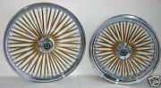 Dna Mammoth Fat 52 Gold Spoke Wheels 21x3.5 And 18x8.5 Harley Custom Chopper