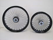 Dna Black Mammoth 52 Fat Spoke Wheels 23x3.5 And 16x3.5 Softail Dyna Touring