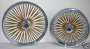 Dna Mammoth Fat 52 Gold Spoke Wheels Harley 21x3.5 / 16x5.5 Touring 2009+ Flh/t