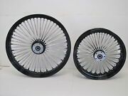 Dna Black Mammoth 52 Fat Spoke Wheels 23x3.5 And 18x3.5 Softail Dyna Touring