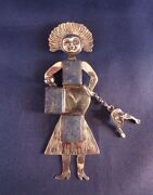 Vintage Joan Slifka Designs Sterling Limited Edition Lucky Lady Pin / Pendant