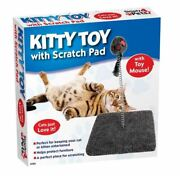 Kitty Cat Moving Mouse Toy With Scratch Pad Kitten Spring Scratcher Pad