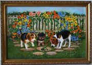Lee Dublin-three Puppies With Frog-original