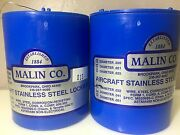 2 Malin Aviation S/s Aircraft Safety Wire 1lb Roll Of Both .015 And .032 W/ Certs