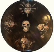Sugar Skull Hand Painted Table By Texas Artist Acrylic And Pencil On Wood