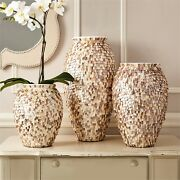 Tozai Home Shingles Set Of 3 Mother Of Pearl Vases