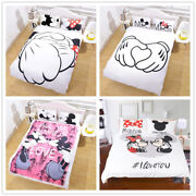 Bedding Set Mickey Minnie Mouse Lovers Print Duvet Cover Pillow Cases 3pc
