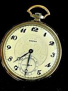Rare Antique Omega 14k Solid Rose And White Gold Pocket Watch Working Warranty