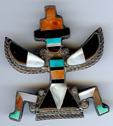 Large Vintage Zuni Indian Silver Inlaid Turquoise Coral Shell Onyx Knifewing Pin