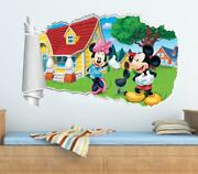Mickey Mouse And Friends Minnie 3d Torn Hole Ripped Wall Sticker Decal Art Wt133