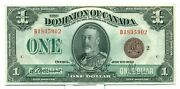 1923 The Dominion Of Canada 1 Bank Note B18059021 Ch Unc Bc25i