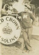 Antique Vintage Old Red Crown Gas Gasoline Sign African American Mi Rare Photo