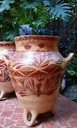 Terracotta Clay Art Pottery Hand Painted Polychrome Amphora Grain Store Vessel 1