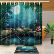 Fairy Tale Mushrooms And Butterfly Polyester Fabric Shower Curtain Set 71inches
