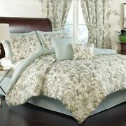 Full Queen King Bed Mineral Blue Green Ivory Floral 6 Pc Comforter Set Bedding