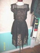 Vintage 60's 1960's Helen Rose Black Lace And Silk Chiffon Evening Dress S 6 M 8
