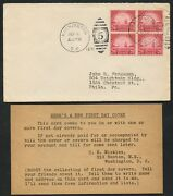 698 Block Of 4 On Nickles 1st Day Cover 9/8/1931 Washington Dc Cv 650 Bt9829