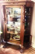Antique 1880s Original Oak Claw Foot China Cabinet- Gorgeous Carved Detailing