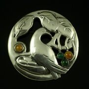 Danish Art Nouveau Silver Brooch With Amber And Green Agate - Thyra Vieth