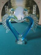 Angel Heart Glass Sculpture Blue And Clear Rare