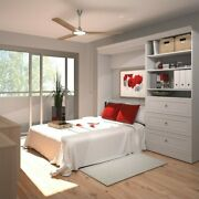 Bestar Versatile 95and039and039 Full Wall Bed With 3-drawer Storage Unit In White
