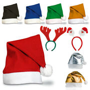 1 - 25 Colourful Red Adult Unisex Christmas Santa Hat Reindeer Party Xmas Lot Uk
