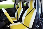 Unnie Universal White/yellow Front Seat Covers Steering Wheeland 2seat Belt Covers