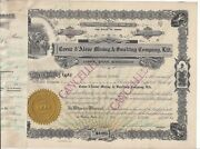 Coeur Dand039 Alene Mining And Smelting Company Ltd......1924 Stock Certificate
