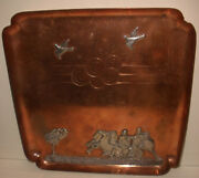 Antique Mixed Metals Gorham Sterling Silver On Copper Tray Roman Soldier Chariot