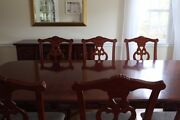 Traditional Cherry Dining Set 6 Side Chairs, 2 Arm Chairs, Buffet, Table