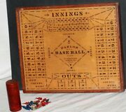 1903 Parlor Baseball Wooden Board Game W/original Game Pieces, Dice, And Shaker