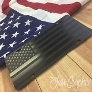 Subdued Tactical American Flag License Plate Matte Black On 1/8 Black Aluminum