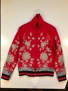 Menand039s Red Jersey Jacket With Metallic Gold Floral Embroidery Size Medium