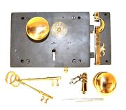Colonial Carpenters Rim Lock Wrought Iron Right Hand With Brass Knobs