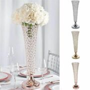 2 Pcs 22 Tall Faux Crystal Beaded Trumpet Vases Wedding Centerpieces Wholesale