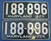 1925 Maryland License Plates Matched Pair Repainted