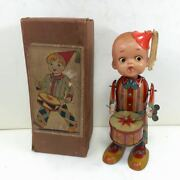 Vintage Rare Tin Toy Pre War Drum Tapping Boy With Spring Box Type Box F/s